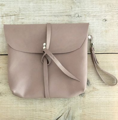 Paper Time leren clutch tasje dusty rose