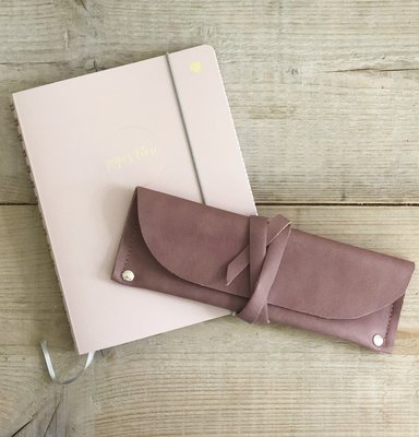 Leren etui dusty rose